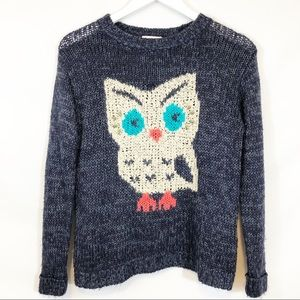 Anthropologie pins and needles owl sweater sz XS